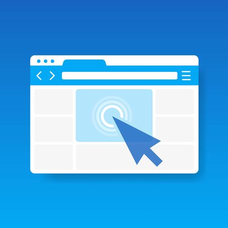 Mouse arrow click on browser web site window vector icon, cursor clicking on internet website page isolated on blue background.