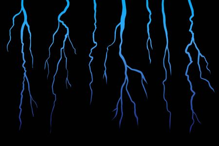 Realistick Lightning set on dark black background. Vector illustration. Stok Fotoğraf - 132172928