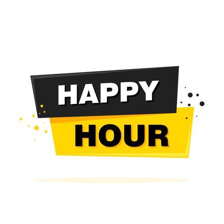 Happy Hour label sign. Vector Banner illustration.