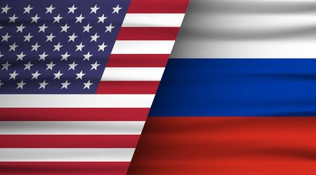 Flags of the USA and Russia. The concept of relations between States, economic community, politics. Vector illustration. Çizim