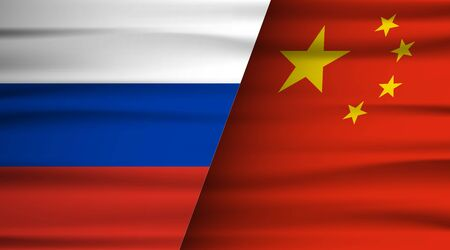 Russia and China flag. Partnership and cooperation between chinese and russian. Politics concept. Country agreement and unity.