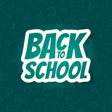 Back to school poster design with seamless abc pattern background. Vector illustration