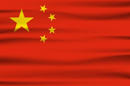 Wave China flag, official colors and proportion correctly. National China flag. Vector illustration.