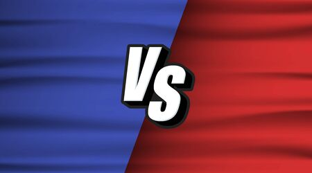 Versus Screen Blue and Red wave flag. Vs Fight background for battle, competition and game. Vector Illustration Versus screen.
