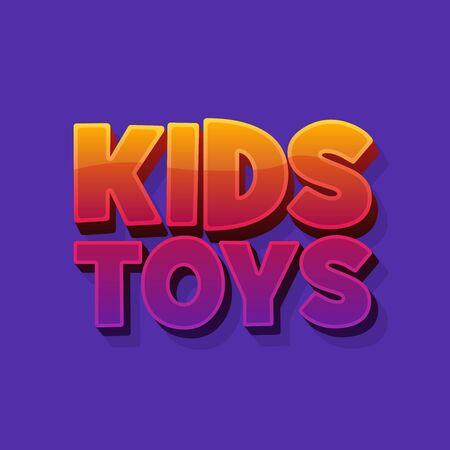 Kids toys shop 3d word sign. Ilustracja