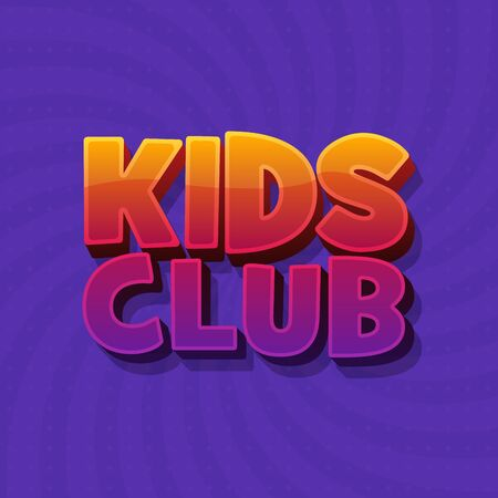 Kids Club fun 3d word sign letters in purple background.