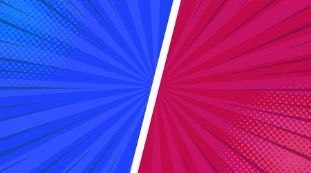 Komische bunte Rahmenkomposition mit schrägen Halbtonlinien radialer Strahlen Humor-Effekte in rosa blauen Farben. Vektor-Illustration.