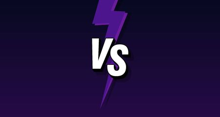 VS letters on ultraviolet background with lightning. Versus Vector Illustration. Poster symbols of confrontation VS. Vector illustration on a black background with a trendy minimalist style. Illustration