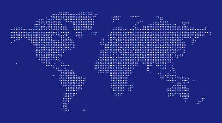 World map dot illustration on blue background. Vector illustration
