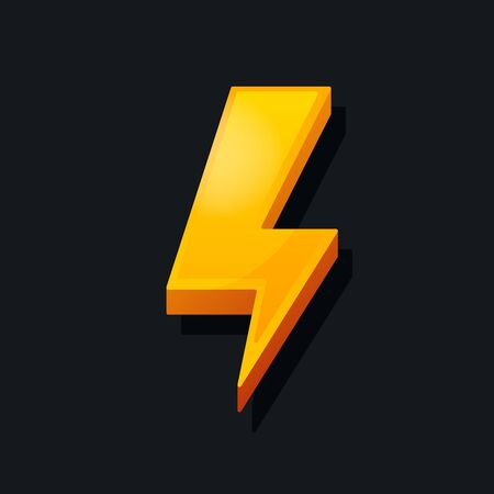 3d Lightning icon. Cartoon style. Power, charge, energy icon concept. Vector illustration. Stock fotó - 132228164
