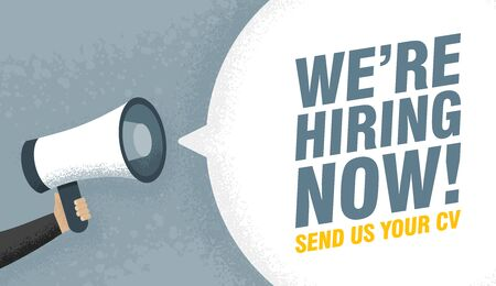 Hand holding Megaphone. Speech sign text we are hiring now. Send us your cv. Vector illustration.  イラスト・ベクター素材