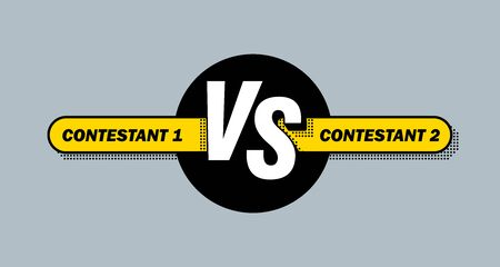 Versus screen. Vs battle headline, conflict duel between teams. Confrontation fight competition. Vector background template. Illustration