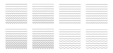 Set di linee orizzontali ondulate - curve e zigzag - incrociate