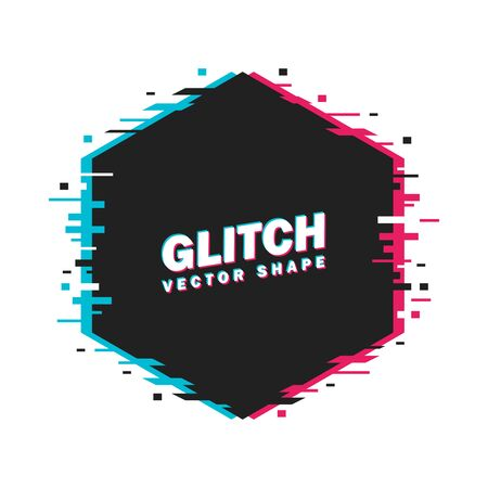 Geometric hexagon banner with glitch effect and shining lights. Vector illustration. White background
