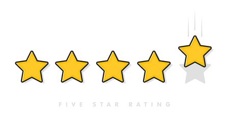 Five yellow rating star vector illustration in white background. 5 star rating customer product review flat icons for apps and websites