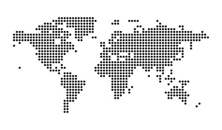 Political Dotted World Map Vector isolated Illustration.