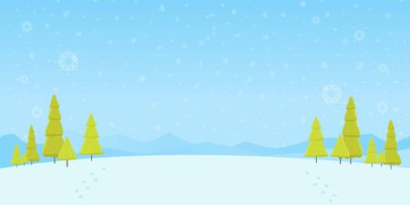 Winter Forest Landscape Christmas Background, Pine Snow Trees Woods Vector Illustration.