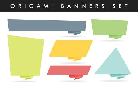 Origami style sticker and banner template. Isolated on white background. Blank for your text, Web site and project. Stickers design template. Colorful origami banners set. Çizim