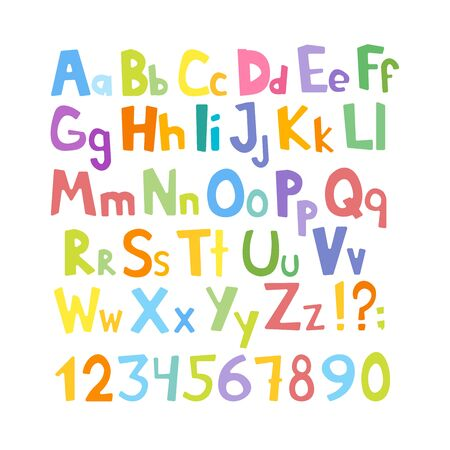 Vector cartoon typeface, multicolored kids vector ABC, letters, numbers and symbols. Uppercase and lowercase cute childish signs.
