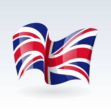 3D Waving flag of United Kingdom Great Britain . Vector illustration. Isolated on white background. Design element.