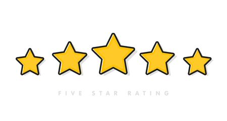 Five yellow rating star vector illustration in white background. 5 star rating customer product review flat icons for apps and websites Stok Fotoğraf - 133006006