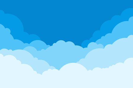 Blue Sky with Clouds. Cartoon Background. Bright Illustration for Design. Kids Cloud Background. Vector illustration Çizim