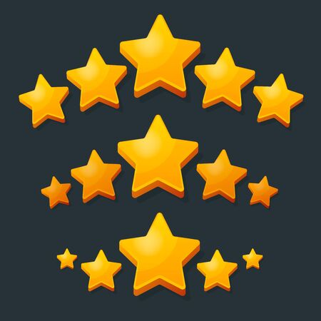 Five Stars Rating Gold icon. 3D cartoon game design ui elements. Win Prizes, Ratting, Award, Success concept. Vector illustration.