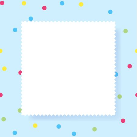White Empty paper rectangle with copy space for text. Confetti color dots background. Vector illustration. Çizim