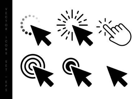 Computer mouse click cursor black arrow icons set. Vector illustration.