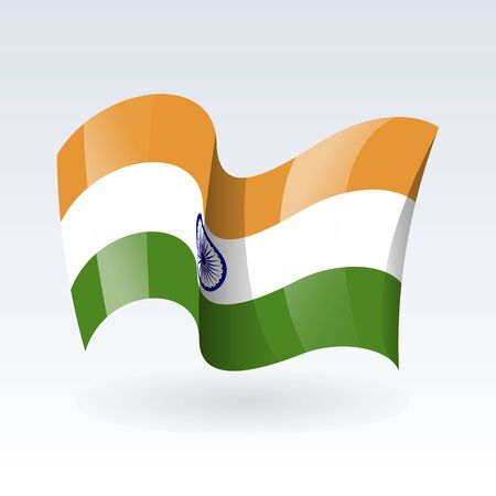 3D Waving flag of India. Vector illustration. Isolated on white background. Design element. 일러스트
