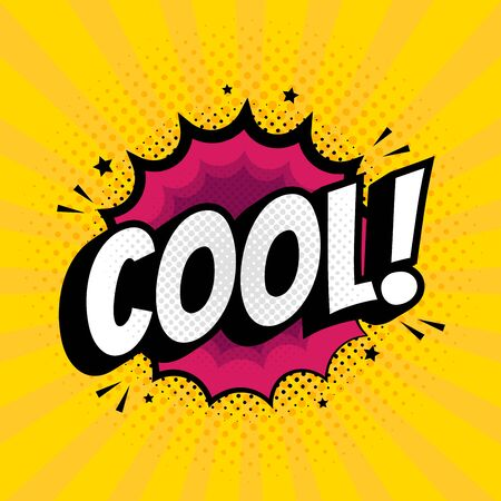 Cool sign in Pop Art Style. Comic icon over dotted background vector illustration.