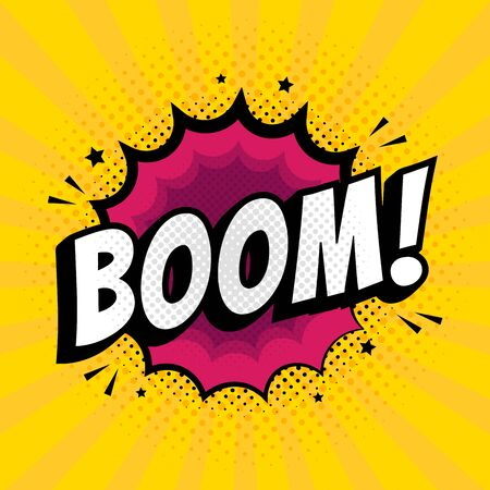 Lettering Boom, bomb. Comic text sound effects. Vector bubble icon speech phrase, cartoon exclusive font label tag expression, sounds illustration. Comics book balloon. Çizim