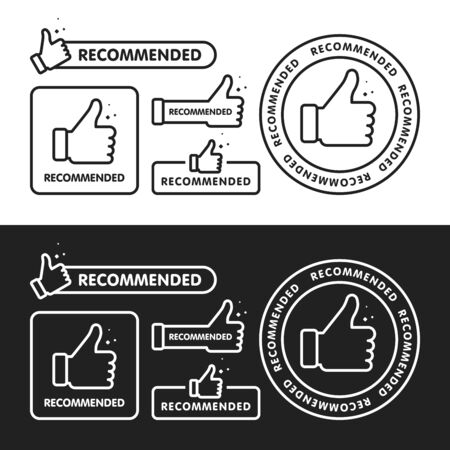 Recommended icon set. Line label recommended with thumb up. Sign brand with recommended. Best tag for great brend. Banner thumb up on isolated background. Vector illustration.