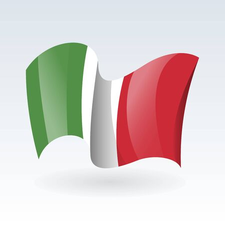 3D Waving flag of Italy. Vector illustration. Isolated on white background. Design element.