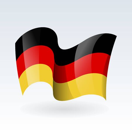3D Waving flag of Germany. Vector illustration. Isolated on white background. Design element.