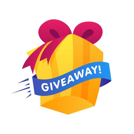 Giweawey Gift box with ribbon on white background. Giveaway enter to win poster template design for social media post or website banner. Vector illustration. 向量圖像