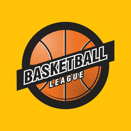 Vector basketball league   ball. Sport badge for tournament championship or league.