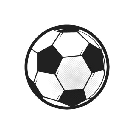 Soccer ball icon. Flat vector illustration in black on white background. Çizim