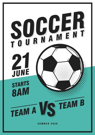 Soccer tournament poster template with ball, grass and sample text. Vector illustration. Soccer flyer design template. Çizim