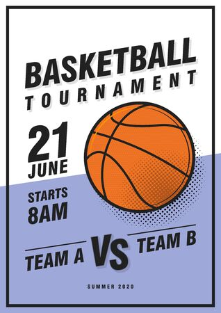 Basketball tournament posters, flyer with basketball ball - template vector design. Çizim