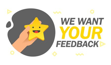 We want your feedback emotion stars scale banner. Consumer Review. Hand holding Yellow funny cartoon Emoji star icons User experience. Rank satisfaction rating. Vector illustration