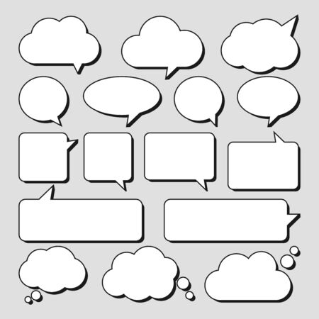Vector set of stickers of speech bubbles. Blank empty white speech bubbles. Vector illustration