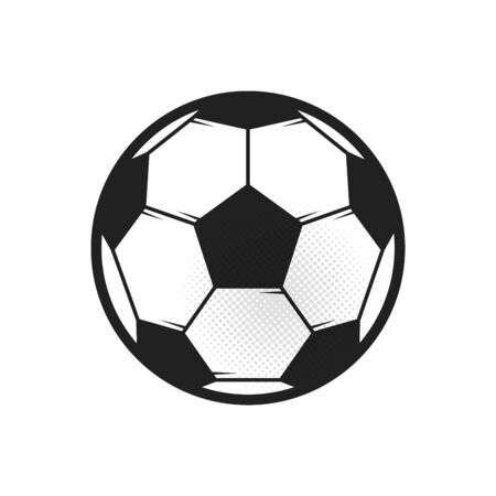 Soccer ball icon. Flat vector illustration in black on white background
