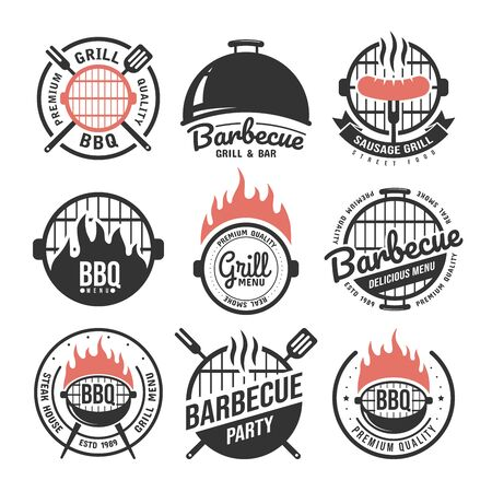 Barbecue and grill labels set. BBQ emblems and badges collection. Restaurant menu design elements. Vector illustration Çizim