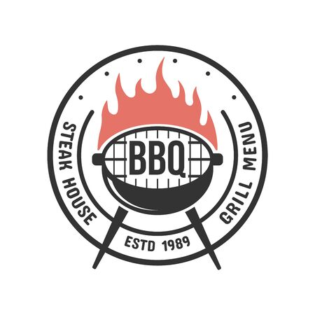 Barbecue and grill label. BBQ emblem and badge design. Restaurant menu template. Vector illustration.