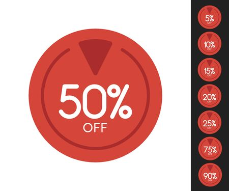 Set of Sale price off icons, red circle with white text inside it, discount offer, vector.