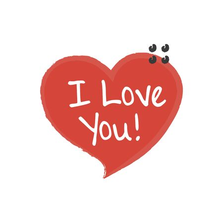 Hand written I love you phrase. Vector card with sign I love you Çizim