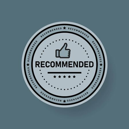Recommended icon. Line label recommended with thumb up. Sign brand with recommended. Best tag for great brend. Banner thumb up on isolated background. Vector illustration