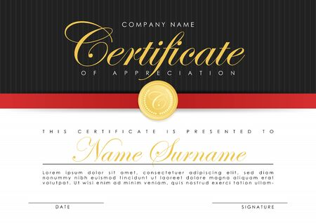 Certificate template in elegant dark blue colors with golden medal. Certificate of appreciation, award diploma design template.