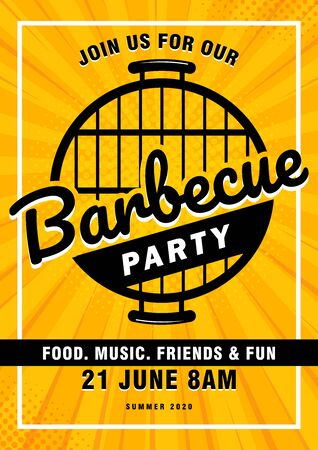 Lovely vector barbecue party invitation design template. Trendy BBQ cookout poster design with classic charcoal grill, fork, cooking paddle and sample text. Çizim